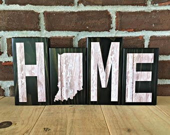 Indiana Home Blocks - White | Rustic Wooden Letter Blocks | Rustic Indiana Decor | Housewarming | Birthday | Gift Under 20 | Indiana Decor