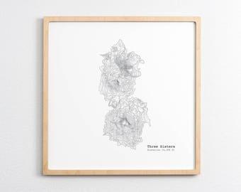 Three Sisters Oregon Art Print - Topographic Map