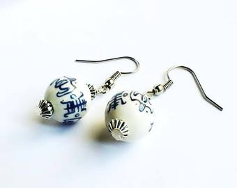 Ceramic, white and blue earrings