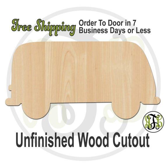 "Vintage Van- 2"" to 6"" Minis- 10032- Small Wood Cutout, unfinished, wood cutout, wood craft, laser cut, wood cut out, ornament"