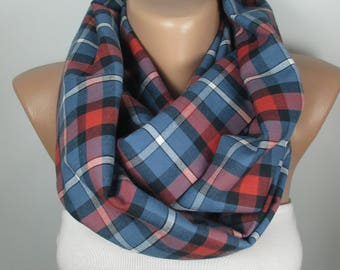 Plaid Scarf Red Blue Scarf Winter Fall Scarf Infinity Scarf Women Fashion Accessories Christmas Gift For Her Holiday Fashion