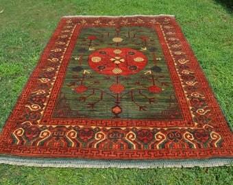FREE SHIPPING 239 by 169 CM Khottan Yarqandi Abrash Natural Dye Pomegranate Tree Pattern Double Shades Self Washable Carpet