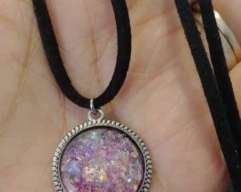 Pink Faux Druzy Necklace, Faux Druzy Pendant Necklace