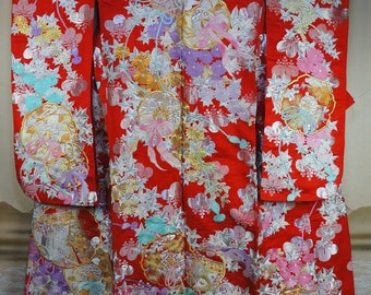 High ceremony Kimono Uchikake hand made Japanese 1970s silk wedding dress Japan