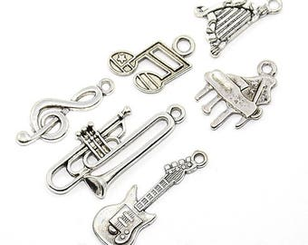 6 charms silver metal music instruments / charm