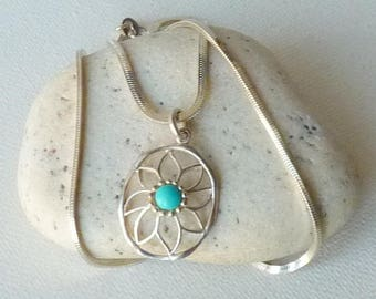 Sterling Silver Genuine Turquoise Pendant Sterling Chain Necklace, Vintage Blue Turquoise Flower Pendant, Blue Turquoise Jewelry 925
