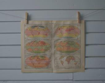 1928 Vintage World Temperature Map