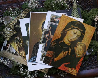 Set of 6 Antique Color Postcards from Germany Religious Madonna 1964