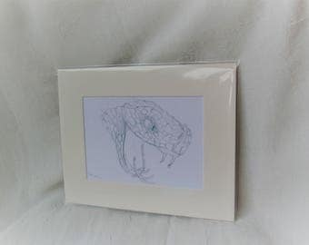 "Snake pencil drawing frame mounted print edition 1/1 8x10"" PR005"