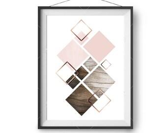 Scandinavian Print, Blush Art, Wood Printable Art, Geometric Poster, Pink Print, Copper Print, Rustic Art, Instant Download, Print Avenue