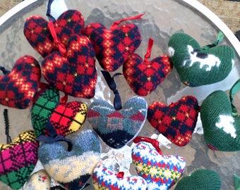 Eighteen Handmade Wool Hearts Ready to Hang