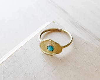 R1044 - New Brass Plate with Turquoise Center Ring