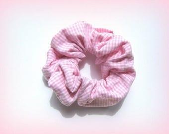Pink White gingham scrunchie handmade unique designer