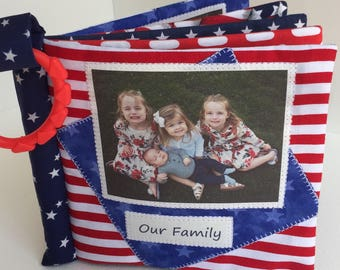 RED WHITE and BLUE Cuddle Book, U.S. patriotic cloth baby photo album, red white and blue, Independence Day