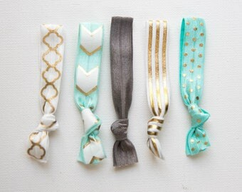 Aqua and Gray w Gold 5 Hair Ties, Wristbands Bracelets, No Crease Hair Band, Girlfriend Gift, Ponytail Holder, Bulk Hair Ties, Birthday