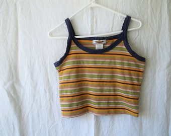 90s RAD Colorful Striped Cropped Tank Top