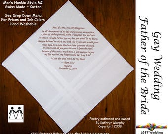 Gay Weddings ~ Father of the Bride Gifts Wedding Handkerchiefs FOB Wedding Hankerchief from the Bride  L211  Sign and Date for Free!