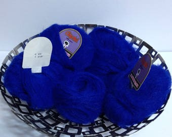Royal Blue Oriental Tipo Angora Yarn Bundle, Vintage Angora S.A. Torredemer Ultra Soft Angora Blend Yarn Made in Spain for Handmade Luxuries