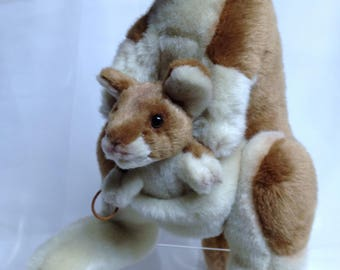 Vintage Kangaroo with Baby Kangaroo in Pouch, Large Stuffed Toy with Baby, Mother & Baby Stuffed Animal, Australian Animal Toy