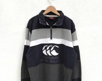 20% OFF Vintage Canterbury Of New Zealand Half Zipper Big Logo Sweater,Canterbury Rugby Jacket,Canterbury Big Logo