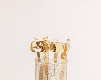 Gold Fall Decor,Pumpkin Drink Stirrers,Jack o lantern stirrer,Thanksgiving decor,hostess gift,pumpkin spice,Drink Stirrers,Decorations, 6 Pk