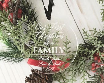 Personalized First Christmas as a Family Ornament - Personalized Acrylic Ornament, Family Christmas, Adoption Ornament, Wedding Gift,Adopted