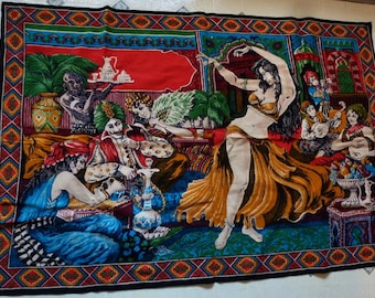 VINTAGE - Bellydancer and Musicians Scene Throw or Wall Hanging