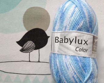 WOOL BABYLUX COLOR blue - white horse