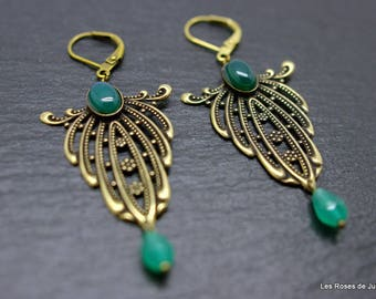 Earrings art deco feather earrings