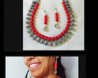 Beaded Necklace,Oxidized Silver Bead Necklace,Indian Jewelry, Necklace Set,Gift for her,Festival Jewelry,Aadi Offer
