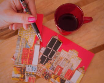 SMALL KIT COMBO Souvenir Montreal earring, large map and Montreal under the Harmony Collection red pencil