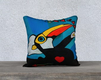 Toco Toucan original Art Print pillow cover - Pillow box and Collection Jp Mélanie Bernard