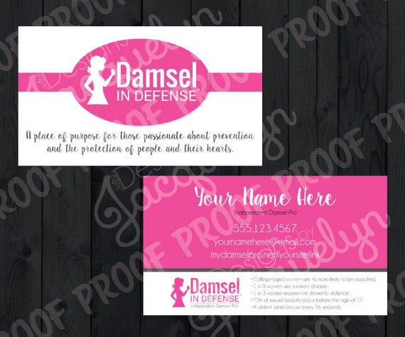 Damsel in defense double sided business cards simple pink for Damsel in defense business cards