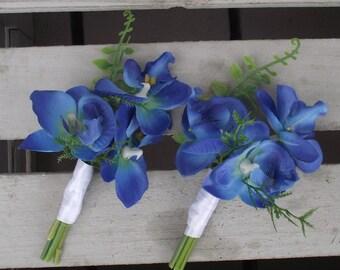 Wedding Flowers, Destination wedding, Bouquet, Blue Boutonniere, Boutonniere, blue orchids, Beach, Grooms Boutonniere, Groomsmen, Keepsake