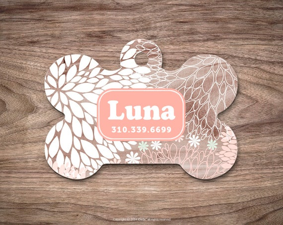 Dog Tag Wood Print Dog Tag for Collar Cute Pet ID Tag Custom Dog Name Tag Wood Puppy Tag Personalized Dog ID Tag Custom Pet Tag for Dog