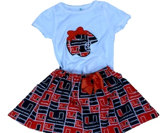Girl University of Miami girl  outfit Hurricanes girl outfit Sport  girl dress toddler hurricanes dress baby UM dress UM outfit Sport dress