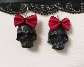 Black skull gothic earrings with red bow completely handmade