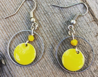 Earrings silver and yellow rings