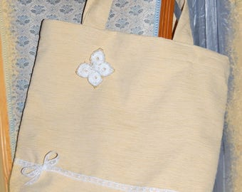 Pale yellow velvet lace and White Butterfly Tote