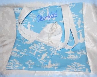 Wedgwood blue white sky and matching pouch-inspired tote bag