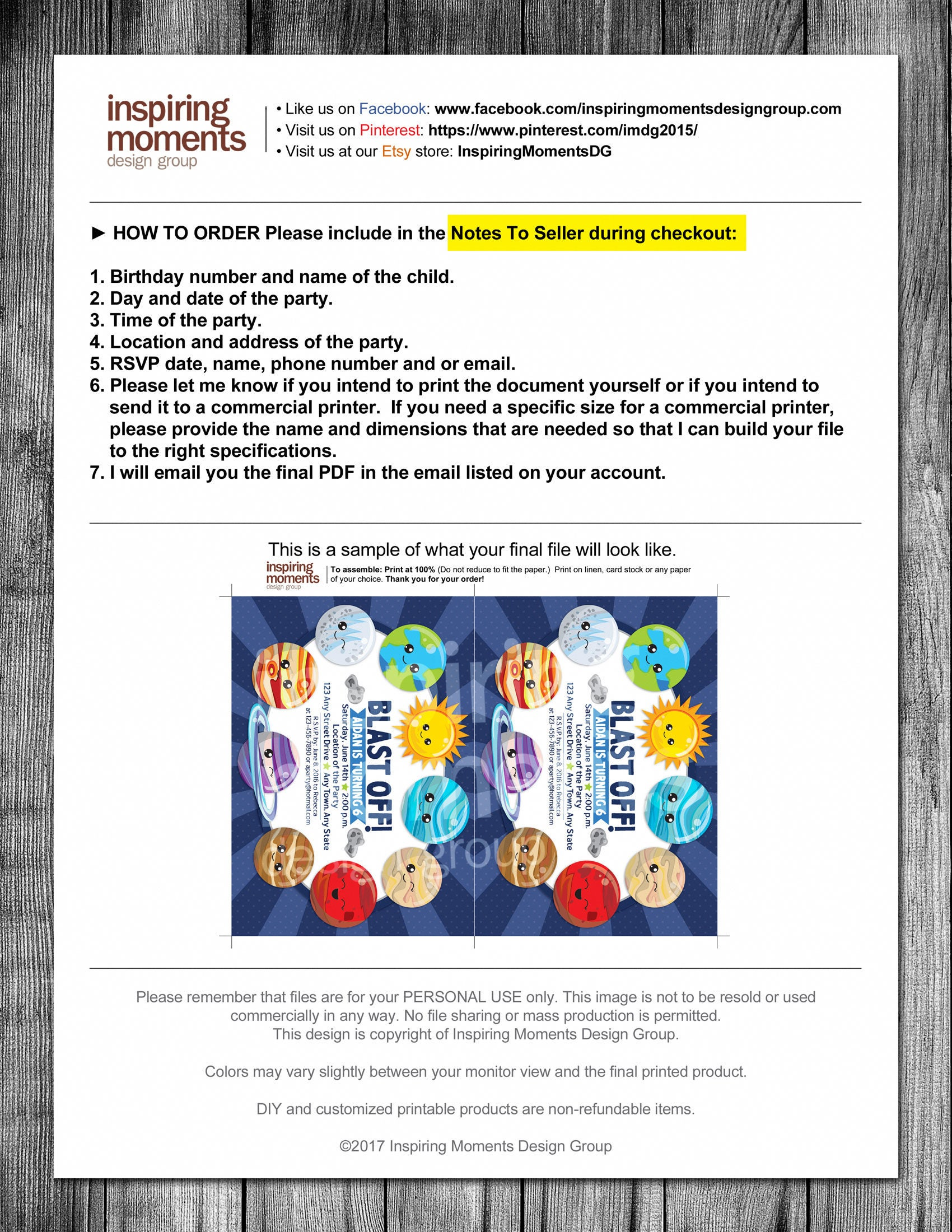 Space Birthday Invitation | Outer Space | Space Exploration ...