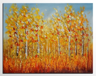 Abstract Art, Autumn Landscape Painting, Original Painting, Art Painting, Canvas Wall Art, Large Canvas Art, Large Abstract Painting