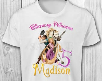 Rapunzel Iron On T-shirt - Rapunzel Tangled Birthday Girl - Rapunzel Printables - Rapunzel Tangled Iron On Transfer