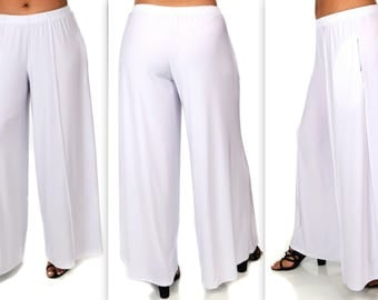 Comfy Plus Pants, White Pants, Plus Size Pants, Lagenlook Pants, Palazzo Pants, Palazzao Pnts, Size XL To 5XL