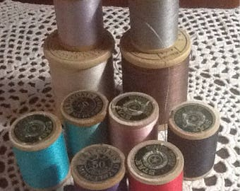 Vintage, Cotton thread, Belding Corticelli, Star, J&P Coats, 9 Full Spools, 1 partial, neutrals, turquoise, pink, purple, red, black, gray