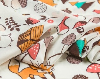 Printed pure silk crepe de chine fabric,animal fruit,plant prints,cartoon style,soft,Sewing for Dress,Shirt,child clothing,Craft by the Yard