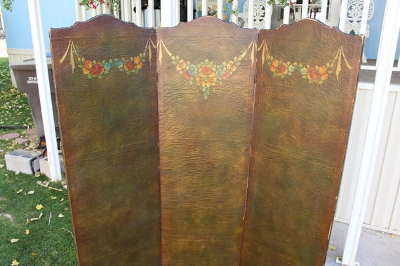 Antique Victorian Furniture Room Divider Privacy Screen Fall Colors