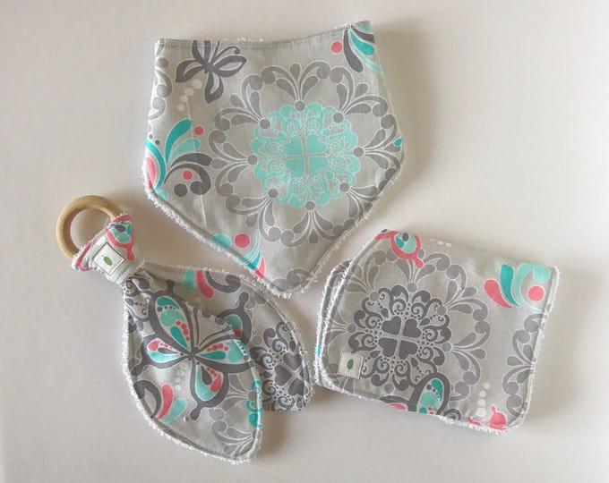 Butterfly Bandanna Bib, Teether and Burp Cloth Baby Gift Set - Wood Ring Teether - Bunny Ear Teether - Floral Burp Cloth
