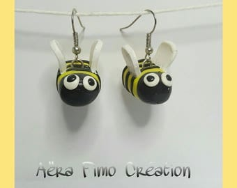 """Pretty bee yellow and black"" polymer clay earring"