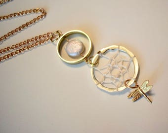 Pearl and Dragonfly Dreamcatcher Necklace